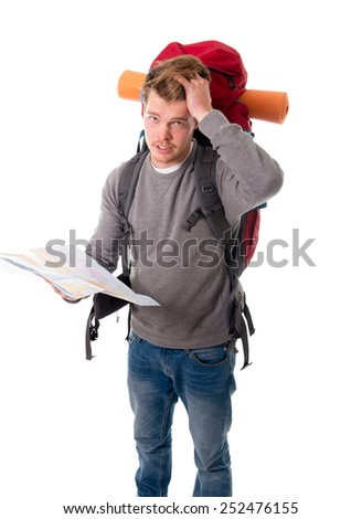 young attractive backpacker tourist in stress looking map confused and lost carrying big backpack during vacations trip and holidays isolated on white background
