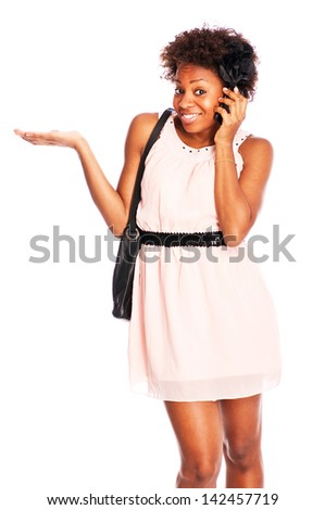 young attractive black woman in a chick outfit with smart phone