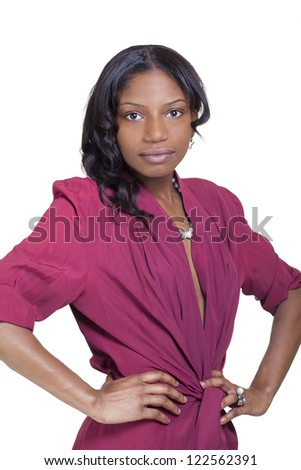 Young Attractive Black Woman Standing Dress Hands on Hips
