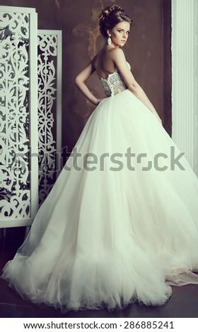 Young attractive bride - stock photo