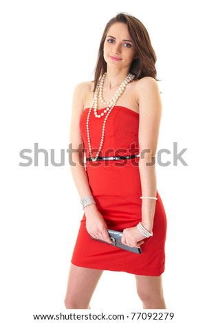 young attractive brunette woman in red strapless dress, isolated on white - stock photo