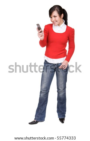 young attractive brunette woman over white background - stock photo