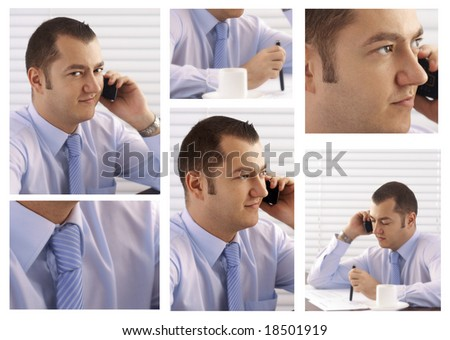 young attractive business man on the phone. business series. collage - stock photo