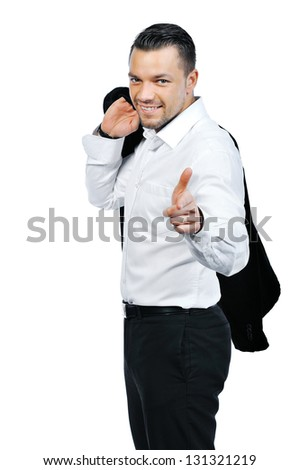 Young attractive business man pointing at you and smiling, isolated on white background - stock photo