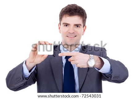 young attractive business man shows his business card, focus is on card, face is blurred, white empty copy space, studio shoot isolated on white - stock photo