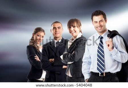 Young attractive business people - businessteam - stock photo