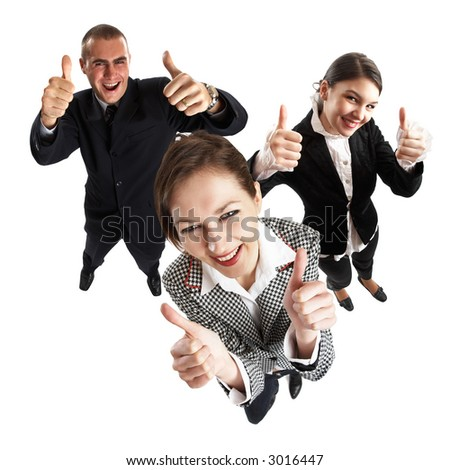 Young attractive business people with thumbs up - success