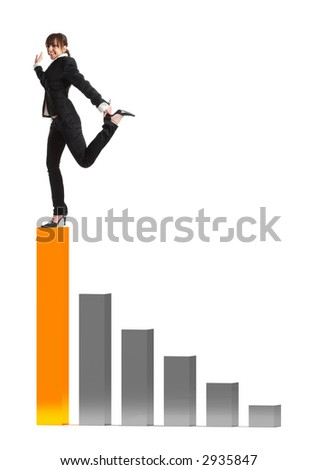 Young attractive business woman balancing on a 3d graphic