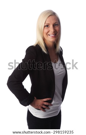 Young attractive business woman, blonde hair and blue eyes, wearing a black jacket and a white top. White background.