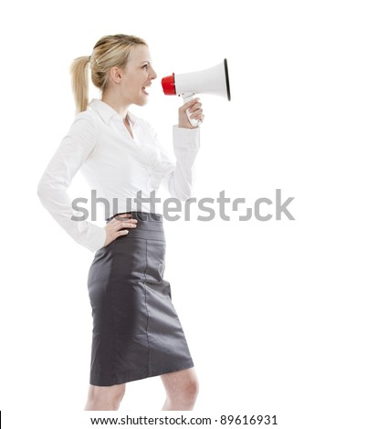 young attractive business woman holding a megaphone (loudhailer)