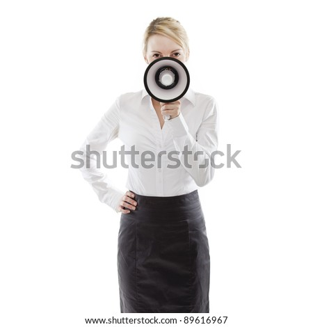 young attractive business woman holding a megaphone (loudhailer) - stock photo