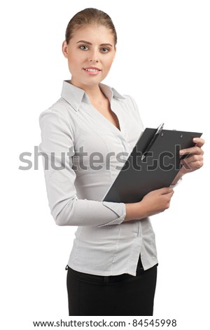 Young attractive business woman holding documents on clipboard, isolated on white background - stock photo