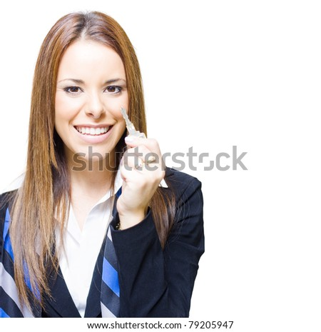 Young Attractive Business Woman Holding Key To Success And Dreams, Or Maybe Just A Key To A Car House Or Home, Whatever Door You Choose To Unlock Or Open - stock photo