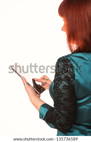 Young attractive business woman holding tablet PC with touch pad isolated on white - stock photo