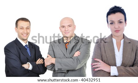 Young attractive business woman in front of group of business people