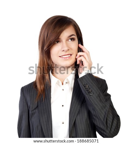 young attractive business woman with phone - stock photo