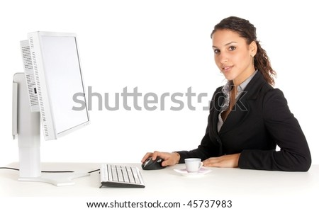 young attractive business woman working at office