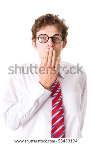 young attractive businessman cover mouth with his hand, secrecy, privacy concept, studio shoot isolated on white