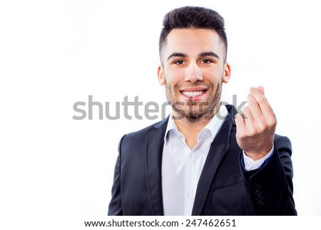 Young attractive businessman doing money gesture  - stock photo