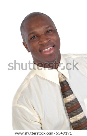 Young attractive businessman, dressed up and happy, isolated on white - stock photo