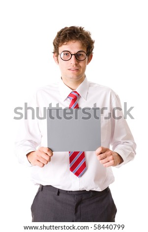 young attractive businessman holds empty grey, blank copyspace card, studio shoot isolated on white background