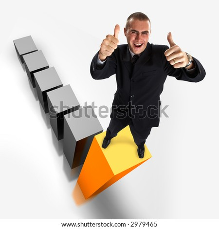 Young attractive businessman on the highest bar of a 3d graphic