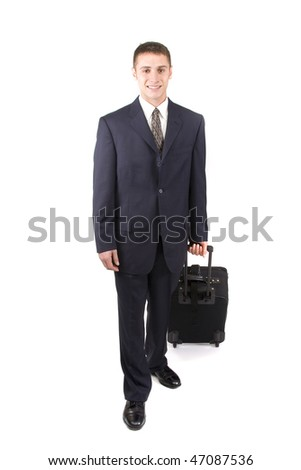 Young attractive businessman on white with a suitcase.