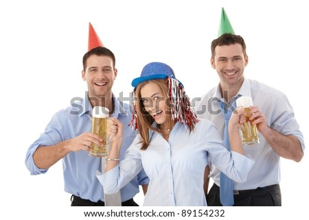 Young attractive businesspeople having party fun, laughing.? - stock photo