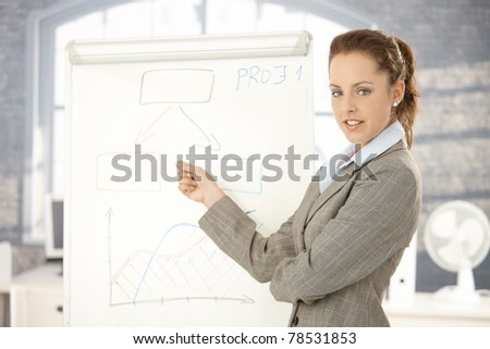 Young attractive businesswoman doing presentation in office, standing over whiteboard, pointing, smiling.? - stock photo