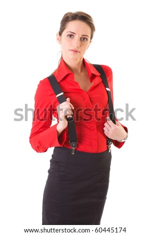 young attractive businesswoman in black skirt and red shirt with braces, studio shoot isolated on white