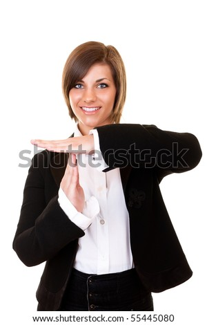 young attractive businesswoman in suit wanting a break - stock photo