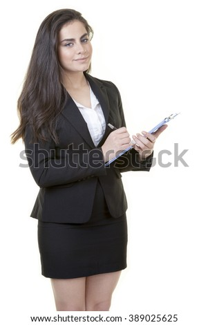 Young attractive businesswoman is posing with her casual dress against isolated white background. - stock photo