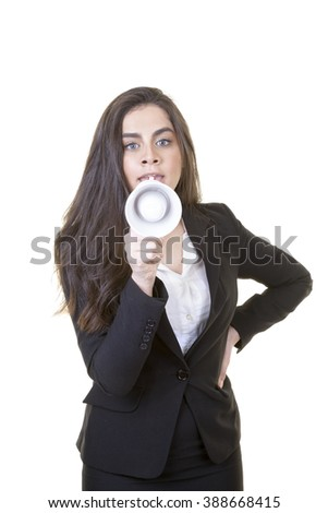 Young attractive businesswoman is shouting over megaphone against isolated white background. - stock photo