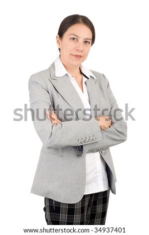 Young attractive businesswoman over white background