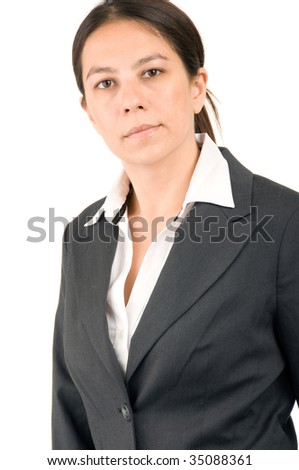 Young attractive businesswoman over white background - stock photo