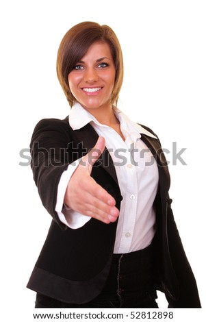 young attractive businesswoman ready to shake hands
