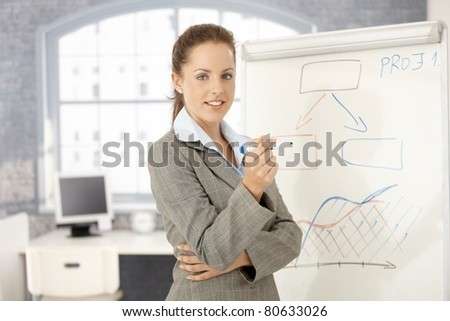 Young attractive businesswoman standing over whiteboard, doing presentation, smiling in office.? - stock photo