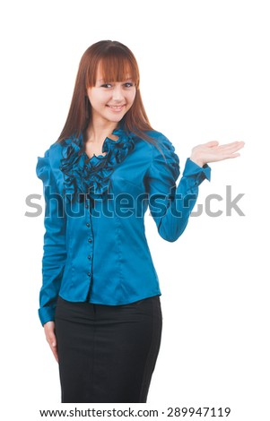 Young attractive businesswoman with papers isolated on white - stock photo