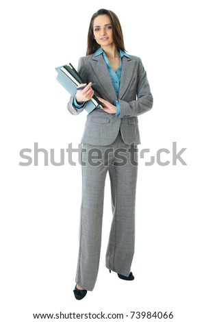 young attractive businnesswoman in grey suit and blue shirt, full body shoot isolated on white background - stock photo