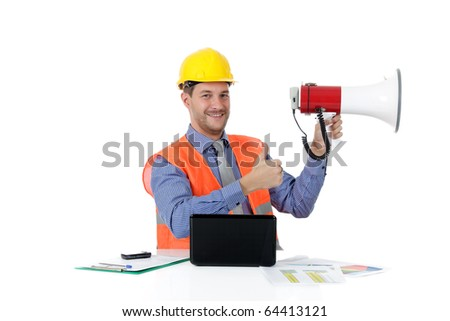 Young attractive caucasian man architect with helmet in office holding a megaphone and thumb up. Studio shot. White background. - stock photo