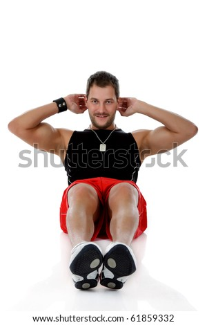 Young attractive caucasian man athlete doing fitness, abdominal exercises. White background. Studio shot. - stock photo