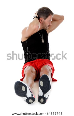 Young attractive caucasian man athlete doing fitness exercises, stretching, hands up. White background. Studio shot. - stock photo