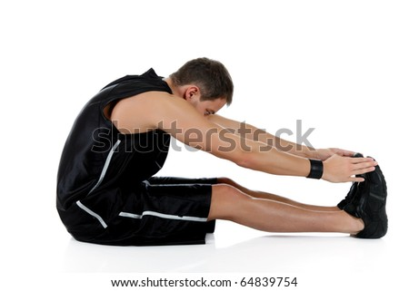Young attractive caucasian man athlete doing fitness exercises, stretching. White background. Studio shot. - stock photo