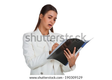 Young attractive cheerful businesswoman with folder on white - stock photo