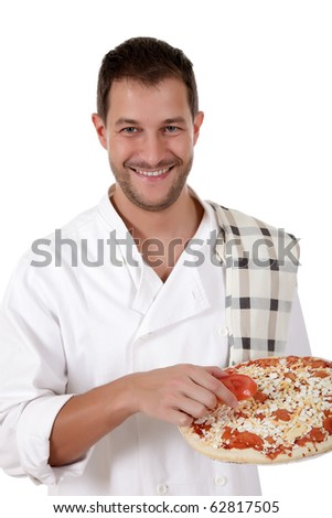 Young attractive chef male with uniform showing a pizza. Studio shot. White background. - stock photo