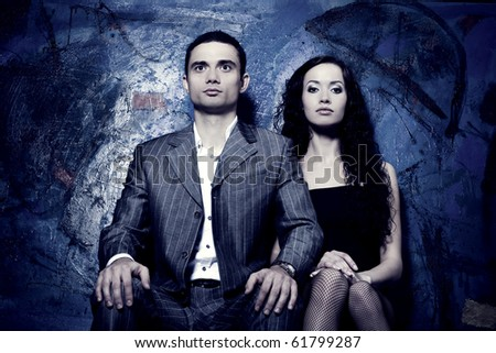 Young attractive couple. Handsome man and sexy woman - stock photo