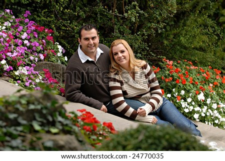 Young attractive couple in a park
