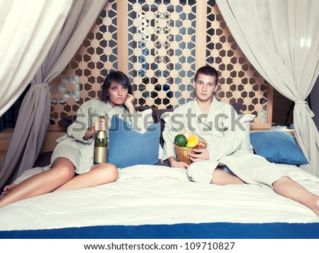 Young attractive couple in resort