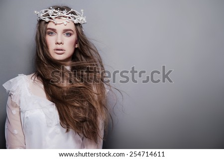 Young attractive creative fashion bride - stock photo