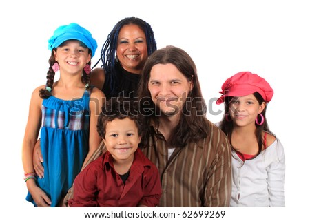 Young attractive ethnic family with parents, two girls, and one boy on a white background - stock photo